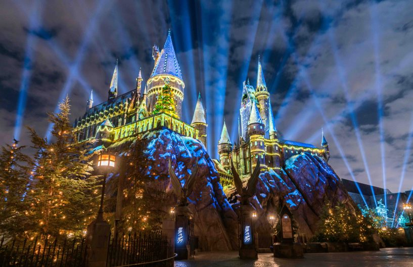 """The Magic of Christmas at Hogwarts Castle"" light projection spectacular runs nightly as part of Christmas in The Wizarding World of Harry Potter at Universal Studios Hollywood through Sunday, Jan. 6. (Photo courtesy of Universal Studios Hollywood)"